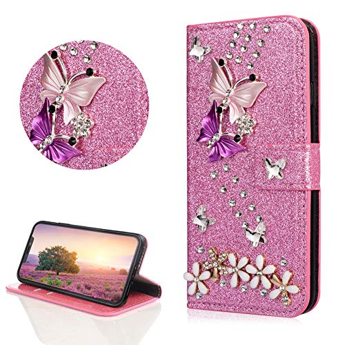 - Crystal Diamond Glitter Leather Wallet Case for iPhone Xs Max,DasKAn Butterfly Flower 3D Rhinestone Bling Folio Flip Cover with Card Holder Slots Magnetic Closure Stand Protective Phone Case,Pink