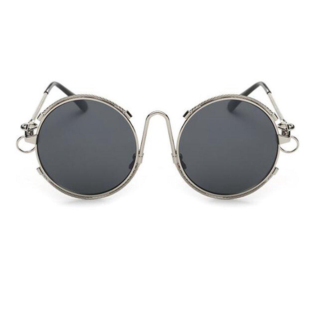 Wmshpeds Moda occhiali da sole riflettente, marea di persone film colore occhiali da sole, scatola rotonda lady occhiali da sole