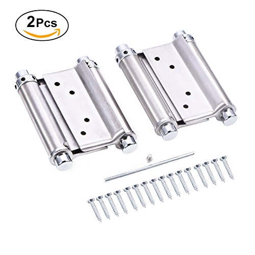 2 Way Hinges - 3 Inch Stainless Steel Double Action Spring Hinge For Saloon Cafe Door Shop Swing Door - Silver , 2Pcs