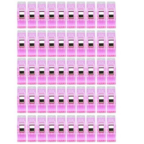 DZT1968 50 PCS Clear Plastic Sewing Craft Quilt Binding Plastic Clips Clamps Pack (Hot Pink)