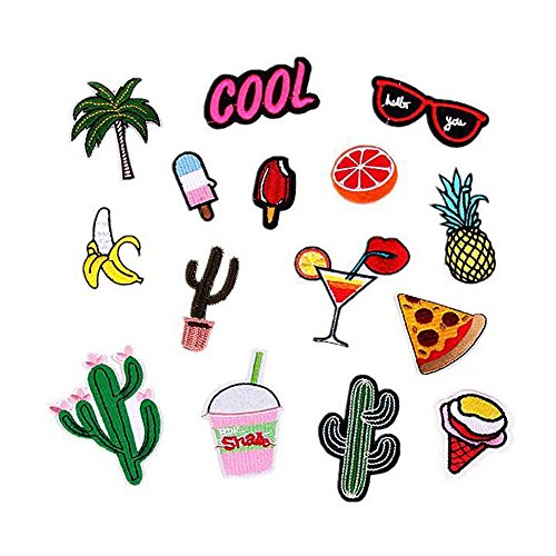 15 Pcs Iron On Embroidered Patch Set -Pizza - Iron On Palm Tree