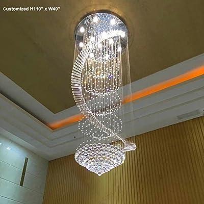 "Siljoy W32"" x H87"" Modern Contemporary Crystal Chandelier Luxury Round Spiral Rain Drop Lamp Staircase Lighting Ceiling Light Fixture"