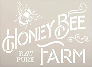 Honey Bee Farm Stencil by StudioR12 | DIY Vintage Spring Farmhouse Kitchen Home Decor | Raw & Pure | Craft & Paint Country Rustic Wood Signs | Reusable Mylar Template | Select Size (9 x 7 inch)