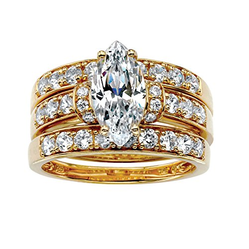 Marquise-Cut and Round White Cubic Zirconia 18k Gold over .925 Silver 3-Piece Bridal Ring Set Size 8 ()
