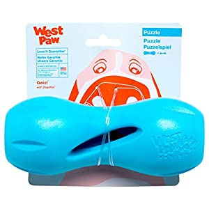 West Paw Zogoflex Qwizl Interactive Treat Dispensing Dog Puzzle Treat Toy for Dogs, 100% Guaranteed Tough, It Floats!, Made in USA, Large, Aqua Blue