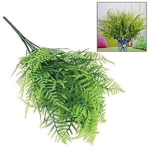 Bazaar Plastic Green 7 Stems Artificial Asparagus Fern Bush Plants Home Cafe Office Decoration 4