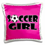 3dRose Soccer Girl Black and Hot Pink-Pillow Case, 16 by 16'' (pc_181849_1)