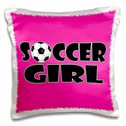3dRose Soccer Girl Black and Hot Pink-Pillow Case, 16 by 16'' (pc_181849_1) by 3dRose