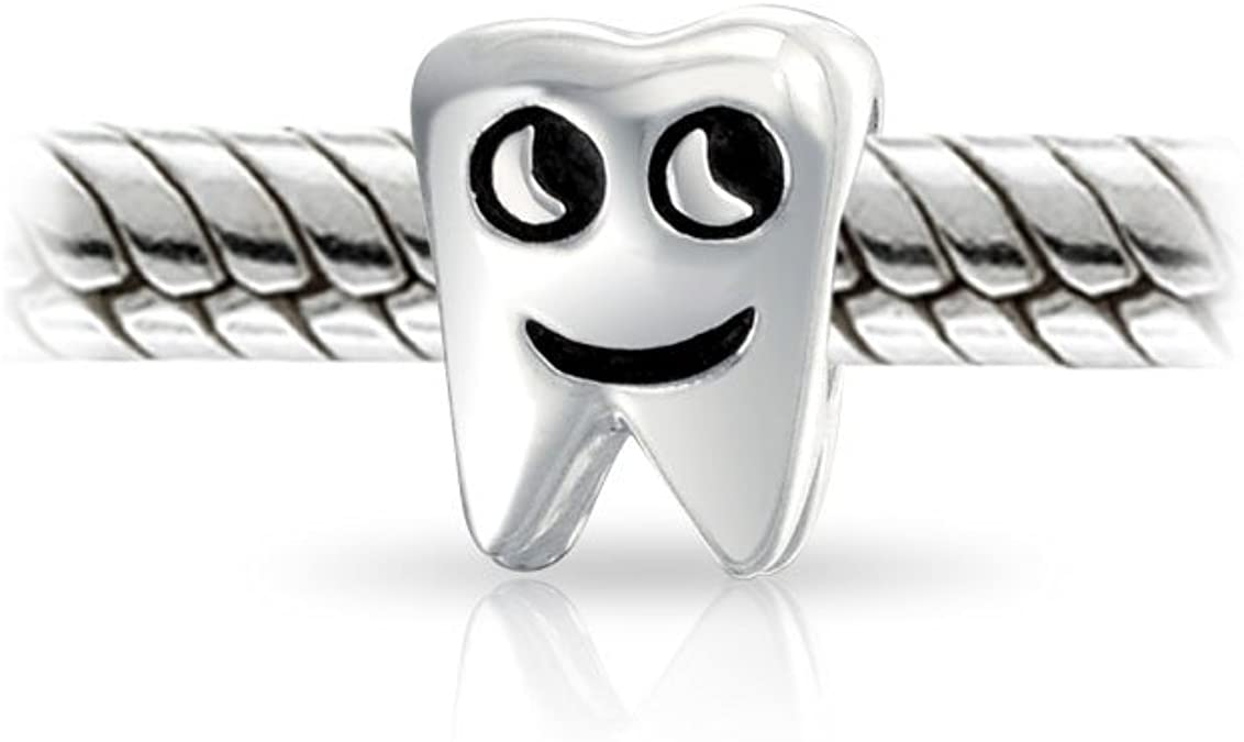 925 Silver TOOTH DENTIST Charms Beads Pendants For Charm Bracelets /& Necklace