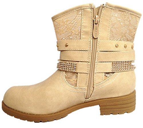 femme strass botte zip motard Bottine Boots BEIGE talon SM208 dentelle 7wqdTF