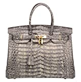 Ainifeel Women's Patent Leather Crocodile Embossed Top Handle Handbags (35cm, Grey)