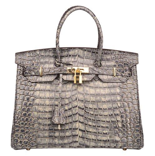 Ainifeel Womens Patent Leather Crocodile Embossed Top Handle Handbags  35Cm  Grey