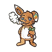 Pot Smoking Pals FUNNY BUNNY RABBIT - Iron on Embroidered Patch Applique