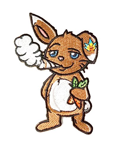 Pot Smoking Pals FUNNY BUNNY RABBIT - Iron on Embroidered Patch ()