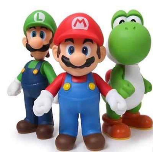 New 3pcs Nintendo Super Mario Bros Luigi Mario Action Figures Toys (Hunt Lite Seat)