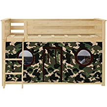 Max & Lily Twin over Twin Low Bunk Bed with Green Camouflage Underbed Curtains, Natural