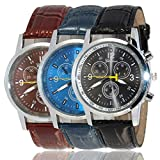 Alisena Mens Analog Quartz Wrist Watch - Classic Casual Watch with PU Leather Band Large Face Watches for Men