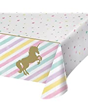 Mumoo Bear Unicorn Table Cover - Magical Unicorn Party Supplies for Kids Girls Birthday Wedding Baby Shower Decoration Disposable Print Plastic Tablecloth for Rectangle Table 130 × 220cm