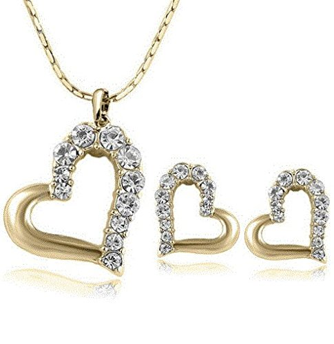 18k Gold Plated Heart Australian Crystal Earrings Necklace (Mistral Set Ring)