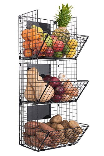 Premium 3-Tier Wall Mounted Hanging Wire Baskets with Chalkboards - High-Grade Black Iron - Fruit or Produce Storage - Bathroom Towel Rack - Rustic Country-Style Organizer by Saratoga Home