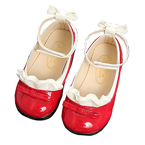 Red Patent Leather Ballerina Flat Shoes (Toddler Girls Ankle Strap Mary Jane Ballet Flats Patent Leather Princess Dress Shoes Red Size 23)
