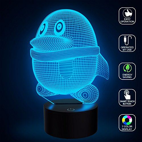 Penguin Light, YKL WORLD 3D Optical Illusion Lamp Table Desk Lamps Bedroom Decor, Touch Night lights 7 Colors Changing, Gifts and Toys for Kids Children Lovers Birthday
