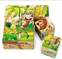 Rolimate Juguetes Rompecabezas de Cubos de Madera, Bloques de Rompecabezas de Animales Juguete Educativo Montessori,...