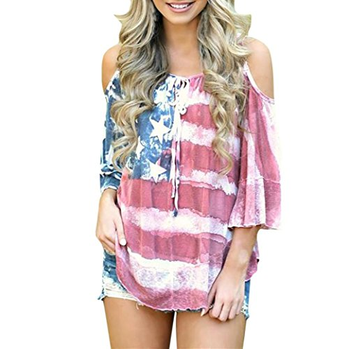 (Women American Flag Loose 4th of July Off Shoulder Top Blouse Camis T Shirts (S, Red))