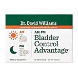 Dr. David Williams' AM-PM Bladder Control Advantage Supplement Promotes Better Bladder Function and A Better Night's Sleep, 30 AM Tablets and 30 PM Tablets (30-Day Supply)