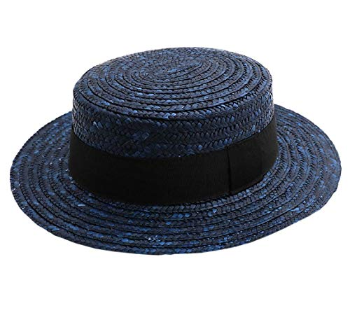 Classic Italy Canotier Boater Hat Gondolier Straw Size 50 cm Blue -