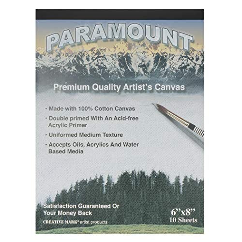 Paramount Artist Double Primed 100% Cotton Canvas Pad - Single Pad (10 Canvas Sheets) - 6