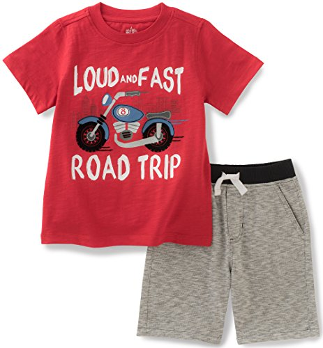 - Kids Headquarters Baby Boys 2 Pieces Shorts Set-Jersey Tee, Red, 18M