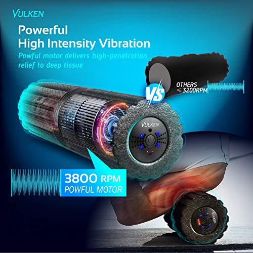"""Vulken Extra Long 17"""" Vibrating Foam Roller 4 Speeds 3800RPM High Intensity Quick Charge Electric Foam Roller Tissue…"""
