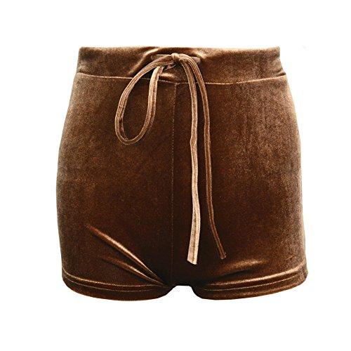 ACVIP Morbido Velluto Pantaloncini Corti per Donna,9 Colori beige