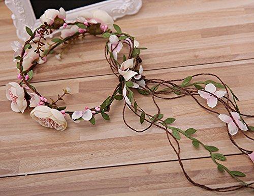 Felice Arts Women Girls Natural Adjustable Berries Vines Flower Headbands Crown Bridal Hair Wreath Floral Headband Garland