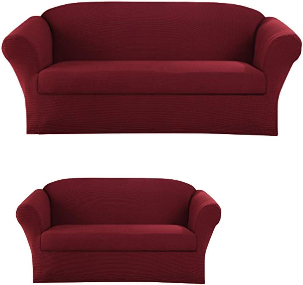 2-Piece SlipCover Set for Sofa Loveseat Couch, Form fit Stretch & Wrinkle Free, Furniture Protector Cover Set for 3/2 Cushions, Polyester Spandex, 2pc Slipcover Set, Slipcover 2pc Burgundy