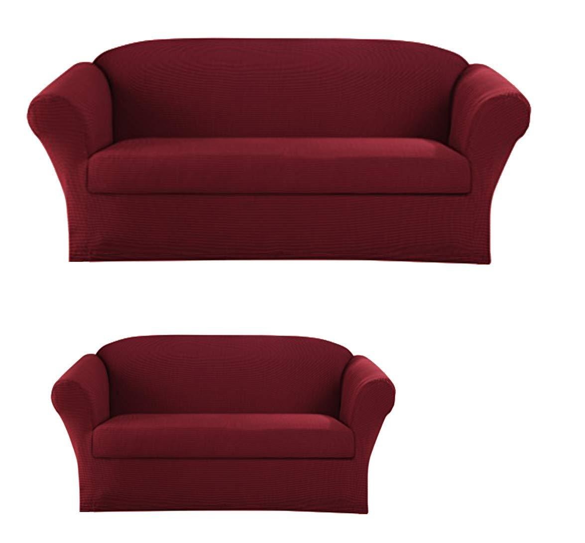 2-Piece SlipCover Set for Sofa Loveseat Couch, Form fit Stretch & Wrinkle Free, Furniture Protector Cover Set for 3/2 Cushions, Polyester Spandex, 2pc Slipcover Set, Slipcover 2pc Burgundy by Sapphire Home