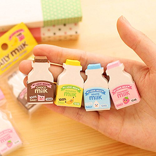 MAZIMARK--2pcs Cute milk bottle cartoon correction stationery rubber eraser random