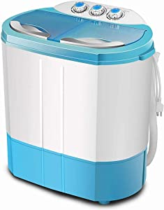 LHF Portable Twin Tub Washing Machine, 4.5 KG Total Capacity Washer and Spin Dryer, Combo Compact for Camping Dorms Apartments College Rooms 2.5 KG Washer 2 KG Drying Blue&White