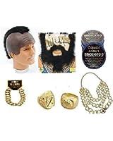 Mr T BA Baracus A Team Fancy Dress Costume Black Moustache Beard Mohawk Wig Gold Rings Bracelet Necklace and Brown Facepaint Fancy Dress Costume Accessories (Mega_Jumble)