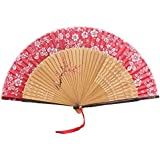 Oriental Vintage Style Folding Fan Hand Fan Foldable Handheld Fan Summer Perfect Gift, W