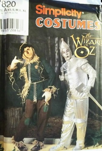 Wizard Of Oz Costumes Patterns (OOP Simplicity Costume Pattern 7820. Mens Szs XS;S;M;L;XL Wizard of Oz Scarecrow & Tin Man Costumes. Chest: 32-48