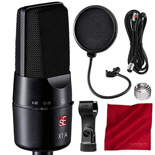 sE Electronics X1 A Large Diaphragm Cardioid Condenser Microphone with 20 dB Attenuation Pad and Accessory Bundle