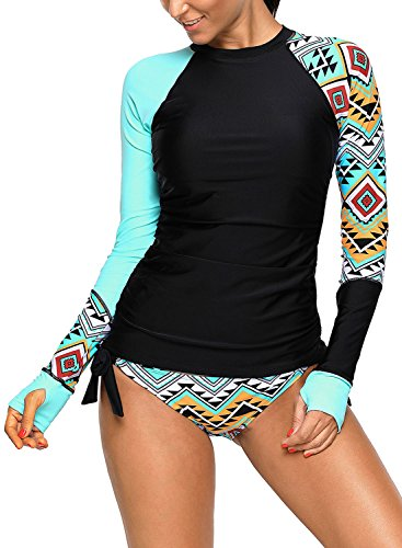 SailBee Women's UV Sun Protection Long Sleeve Rash Guard Wetsuit Swimsuit Set (410485 S, Blue) ()