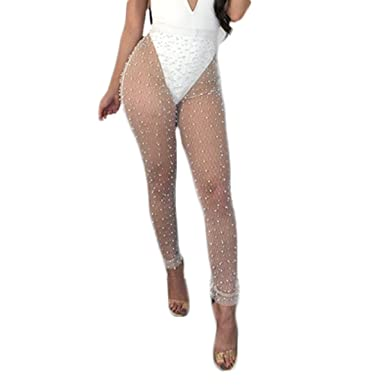 09cc8bb3b5d889 Amazon.com: Tianve Women's Sexy Perspective See Through Sheer Nail Bead Pants  Swimsuit Bikini Bottom Cover up: Clothing