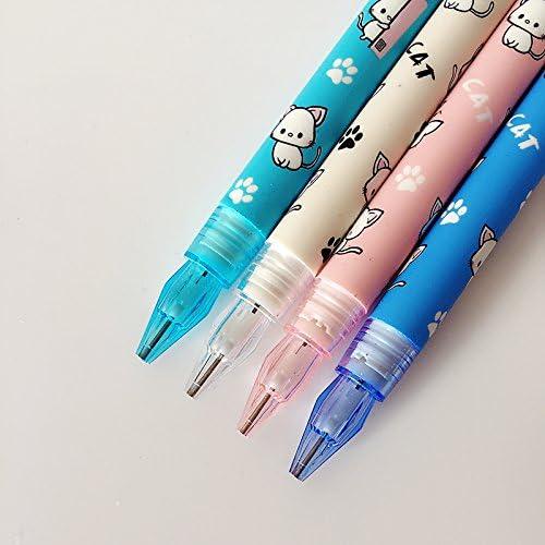 l02 4 x Cute kawaii lovely cat & Paw押しMechanical Pencil Writing学校オフィスサプライ学生ひな形自動鉛筆