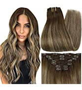 Full Shine Clip in Hair Extensions 12 Inch Clip in Remy Hair Extensions Balayage Color 4 Medium B...