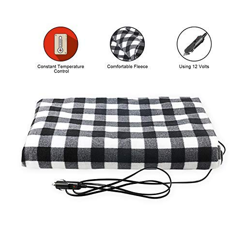 58 X 42 Odorless Soft Thick Travel Temperature Heating Blanket for Cars Trucks SUV RV white/&black Quickly Heat Range from 45-65/°C BELEY 12V Electric Heated Car Blanket