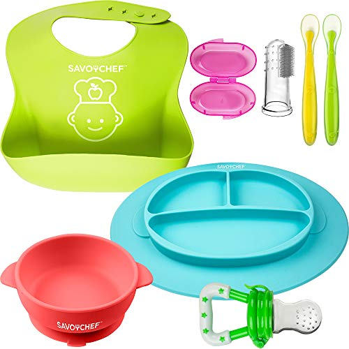 7PC Silicone Baby Feeding Set - Silicone Bowl and Silicone Plates - Suction Silicone Bowl and Dishes for Toddler - Toothbrush and Food Pacifier for Toddlers