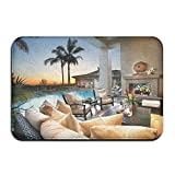 YUYU Chair Design Fireplace Holiday Hotel Interior Living Room Palm Trees Photography Sofa Sunset Swimming Pool Apartment Decor White Memory Foam Bathroom Mat 16x24 Inch Customized Artwork Print
